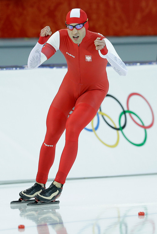 . Gold medallist Poland\'s Zbigniew Brodka  celebrates after racing in the men\'s 1,500-meter speedskating at the Adler Arena Skating Center during the 2014 Winter Olympics in Sochi, Russia, Saturday, Feb. 15, 2014. (AP Photo/Patrick Semansky)