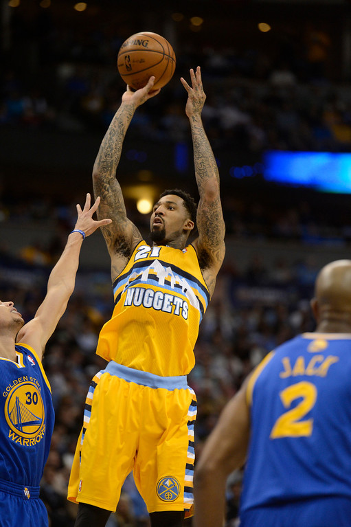 . DENVER, CO. - APRIL 23: Denver Nuggets shooting guard Wilson Chandler (21) takes a shot in the first quarter. The Denver Nuggets took on the Golden State Warriors in Game 2 of the Western Conference First Round Series at the Pepsi Center in Denver, Colo. on April 23, 2013. (Photo by John Leyba/The Denver Post)