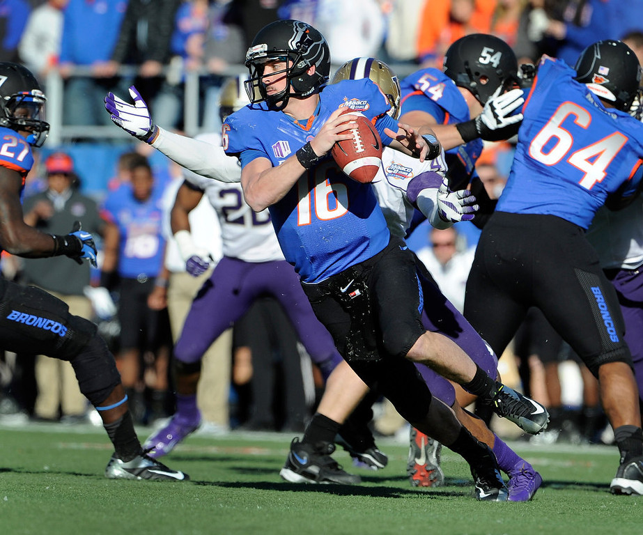 . Booise State quarterback quarterback Joe Southwick (16) looks for an open man under pressure during first half of the MAACO Bowl NCAA college football game against Washington, Saturday, Dec. 22, 2012, in Las Vegas. (AP Photo/David Becker)