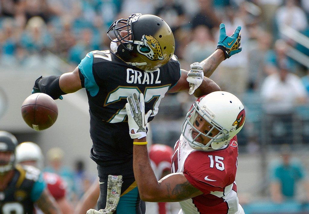 . Jacksonville Jaguars cornerback Dwayne Gratz, left, breaks up a pass intended for Arizona Cardinals wide receiver Michael Floyd (15) during the first half of an NFL football game in Jacksonville, Fla., Sunday, Nov. 17, 2013. (AP Photo/Phelan M. Ebenhack)