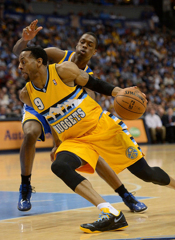 . DENVER, CO. - APRIL 23: Denver Nuggets shooting guard Andre Iguodala (9) drives to the basket in the second quarter. The Denver Nuggets took on the Golden State Warriors in Game 2 of the Western Conference First Round Series at the Pepsi Center in Denver, Colo. on April 23, 2013. (Photo by John Leyba/The Denver Post)