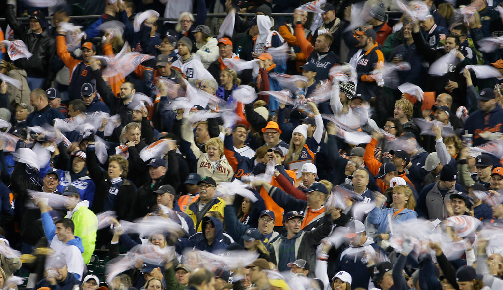 . Detroit Tigers fans cheer in first inning during Game 5 of the American League baseball championship series against the Boston Red Sox, Thursday, Oct. 17, 2013, in Detroit. (AP Photo/Matt Slocum)
