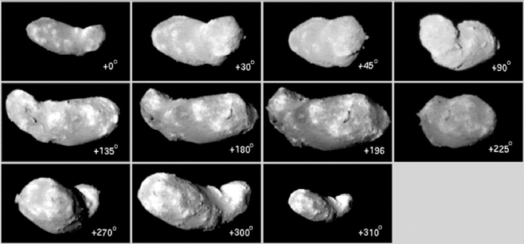 . In this series of photos distributed by Japan Aerospace Exploration Agency (JAXA) in Tokyo Wednesday, Sept. 14, 2005, an asteroid, informally named Itokawa, after Hideo Itokawa, the father of rocket science in Japan, is shown from different phases while it revolves on its axis once in 12 hours. These pictures were photographed between Saturday, Sept. 10 and Sunday, Sept. 11, 2005 and transmitted to JAXA by a camera attached to the Hayabusa probe shortly before reaching the asteroid, about 290 million kilometers (180 million miles) away between Earth and Mars. The Hayabusa probe, launched in May 2003 and reached within 20 kilometers (12 miles) of the asteroid Monday, Sept. 12, 2005, will hover around it for about three months before making its unprecedented - and very brief - landing to recover the samples in early November. The asteroid is only 2,300 feet (690 meters) long and 1,000 feet (300 meters) wide, and has a gravitational pull only one-one-hundred-thousandth of Earth\'s. (AP Photo/Japan Aerospace Exploration Agency, HO)