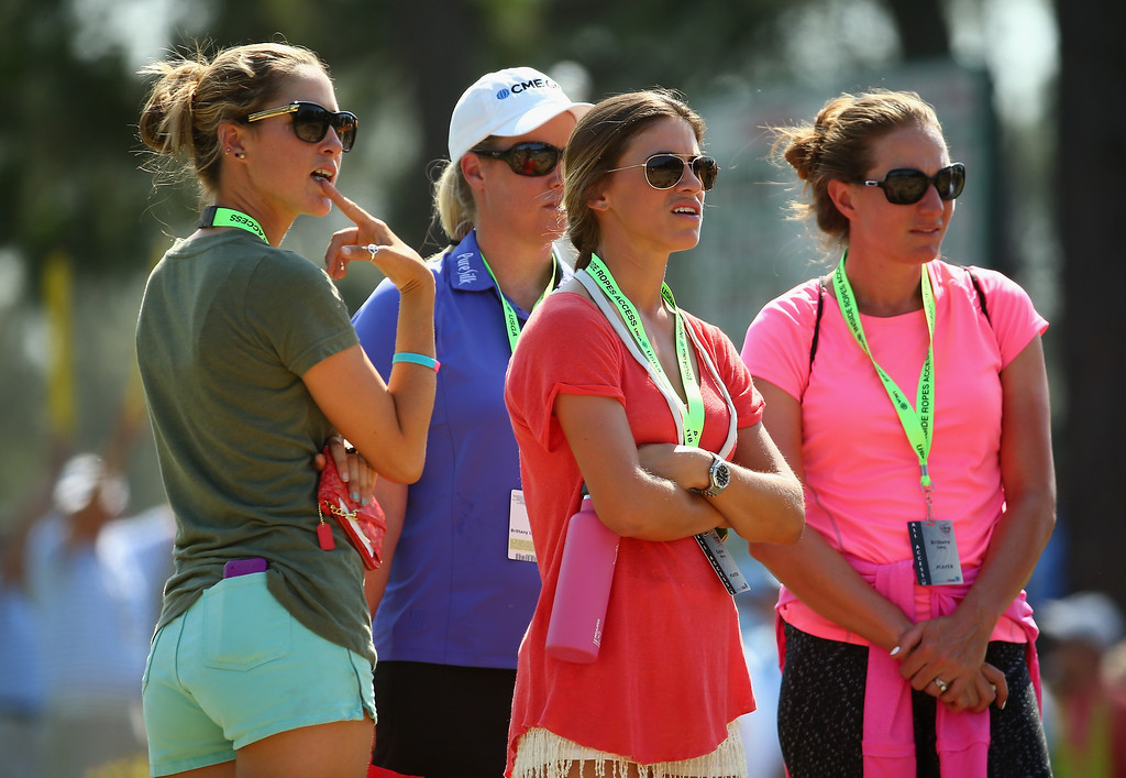 . (L-R) LPGA players Jaye Marie Green, Brittany Lincicome, Belen Mozo and Brittany Lang follow the play during the final round of the 114th U.S. Open at Pinehurst Resort & Country Club, Course No. 2 on June 15, 2014 in Pinehurst, North Carolina.  (Photo by Streeter Lecka/Getty Images)