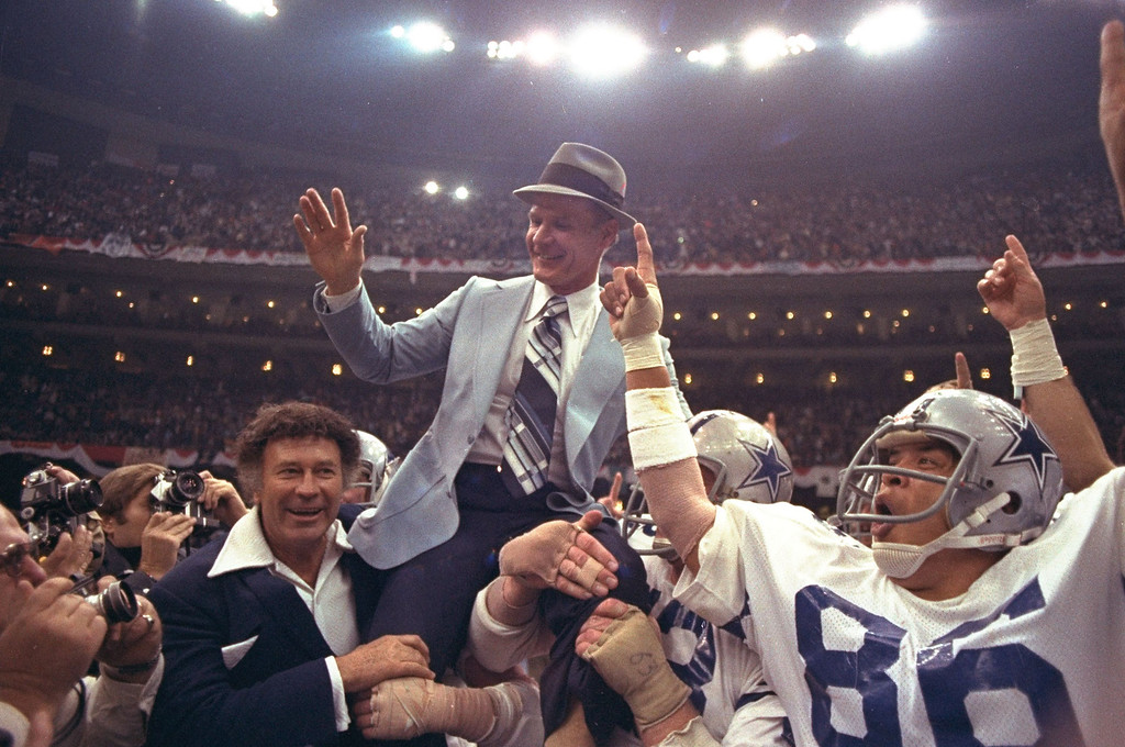 . Dallas Cowboys\' head coach Tom Landry is given a victory ride on the shoulders of his players after the Cowboys defeated the Denver Broncos 27-10 in Super Bowl XII at the New Orleans, Louisiana Super Dome, January 15, 1978.  (AP Photo)