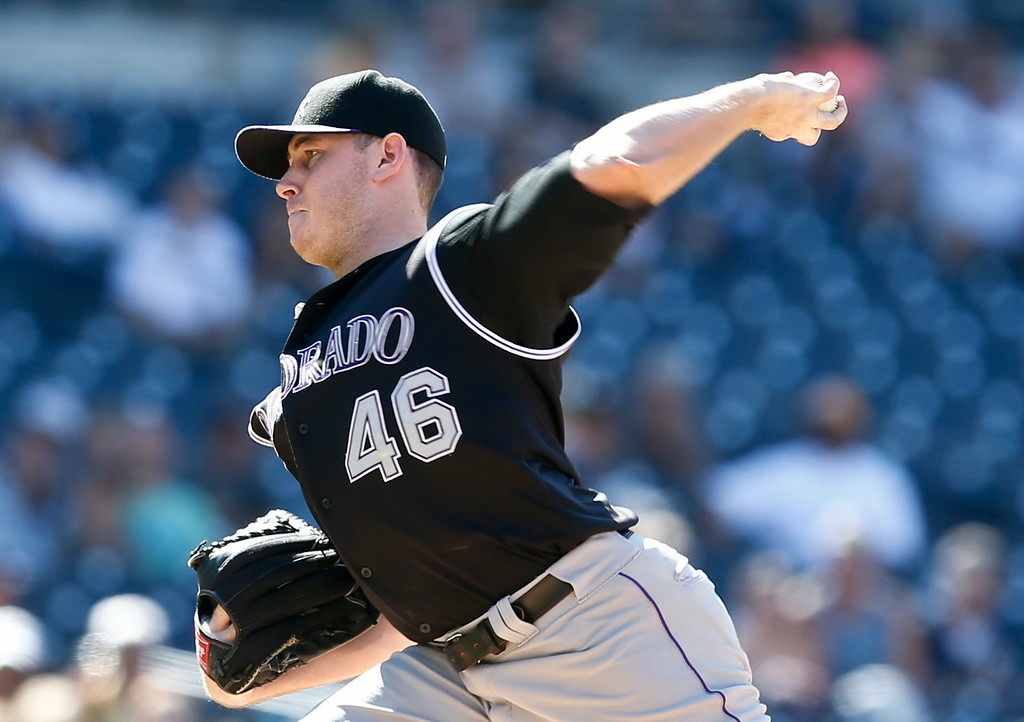 . Colorado Rockies starting pitcher Tyler Matzek works against the San Diego Padres in the first inning of a baseball game Wednesday, Aug. 13, 2014, in San Diego. (AP Photo/Lenny Ignelzi)
