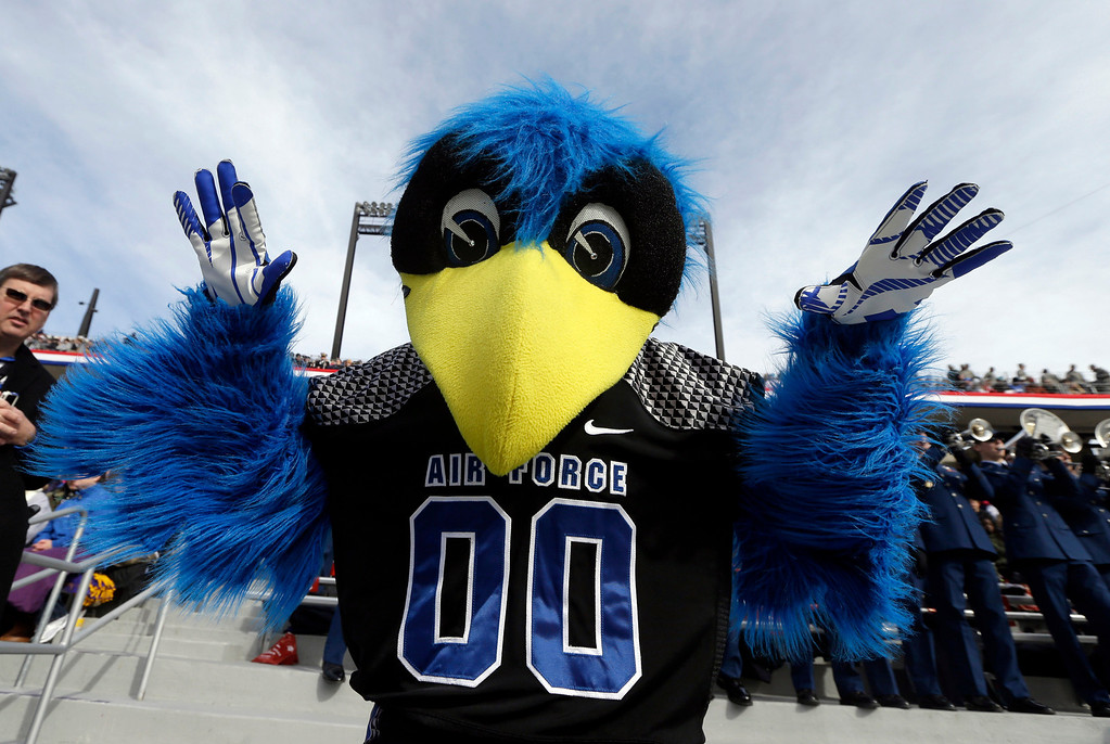 . The Air Force mascot posses for a photo during the second half of the Armed Forces Bowl NCAA college football game against Rice, Saturday, Dec. 29, 2012, in Fort Worth, Texas. Rice won 33-14. (AP Photo/LM Otero)