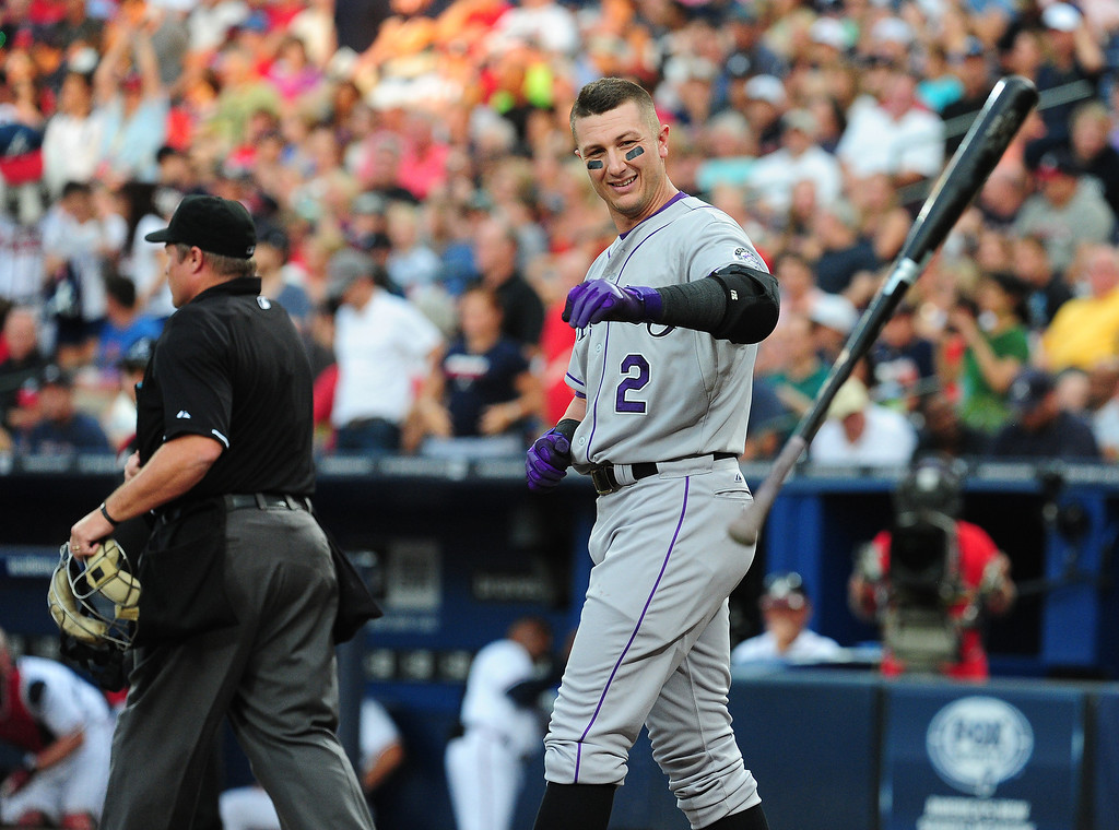 . Troy Tulowitzki #2 of the Colorado Rockies disputes a call with Umpire Marvin Hudson before being ejected from the game against the Atlanta Braves at Turner Field on August 1, 2013 in Atlanta, Georgia. (Photo by Scott Cunningham/Getty Images)