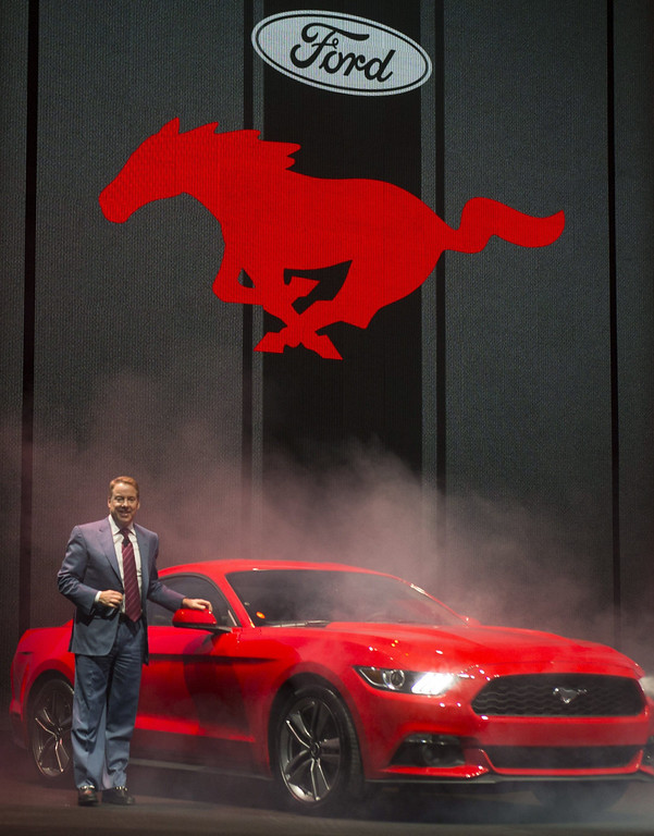 . Ford Motor Company Executive Chairman Bill Ford unveils the 2015 Ford Mustang at a press event in Barcelona, Catalonia, Spain, 05 December 2013.  EPA/ALEJANDRO GARCIA