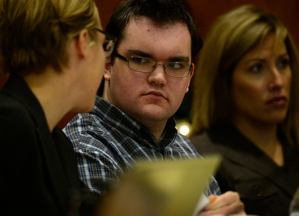 . Austin Sigg appears in Jefferson County Court, in Golden, for a sentencing hearing, November 18, 2013. Sigg, who pleaded guilty to the kidnapping and murder of 10-year-old Jessica Ridgeway, was in Courtroom 1-A with Chief Judge Stephen M. Munsinger presiding over the hearing. (Photo by RJ Sangosti/The Denver Post)