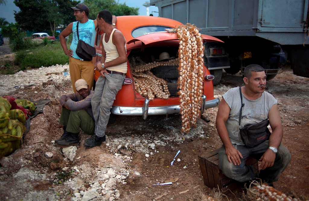 . In this Monday, Sept. 30, 2013 photo, farmers wait for customers next to their 1950\'s Chevrolet loaded with garlic at the 114th Street Market on the outskirts of Havana, Cuba.  The market\'s bustle is a result of economic reforms begun in 2010 by President Raul Castro, which includes relaxing rules on private farming. (AP Photo/Ramon Espinosa)