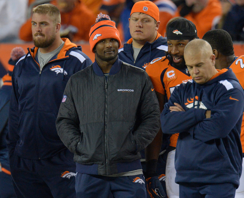 . Denver Broncos cornerback Champ Bailey (24) on the sidelines during the game. The Denver Broncos vs. the San Diego Chargers at Sports Authority Field at Mile High in Denver on December 12, 2013. (Photo by John Leyba/The Denver Post)