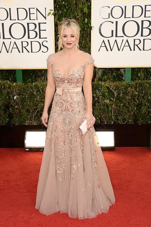 . Actress Kaley Cuoco arrives at the 70th Annual Golden Globe Awards held at The Beverly Hilton Hotel on January 13, 2013 in Beverly Hills, California.  (Photo by Jason Merritt/Getty Images)