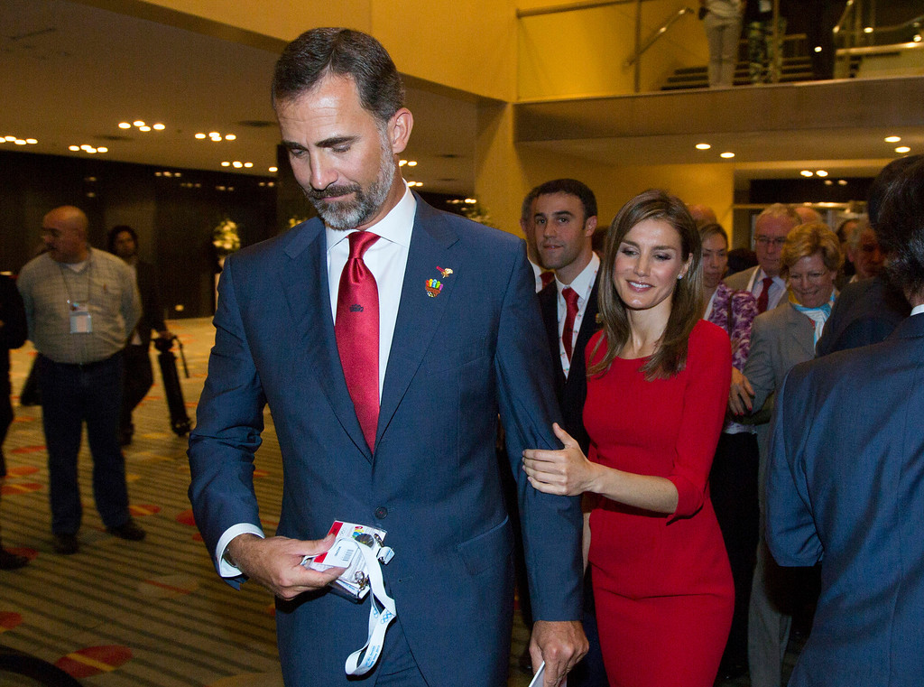 . Spain\'s Crown Prince Felipe and and Princess Letizia leave after Madrid\'s 2020 final presentation in 125 IOC session in Buenos Aires, Argentina, Saturday, Sept. 7, 2013.  Madrid was eliminated as a host city for the 2020 Olympics.  (AP Photo/Ivan Fernandez, File)