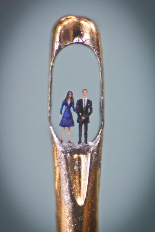 . Yhis unadted image made available ion London, Tuesday April 26, 2011, shows the latest work by micro-sculpture artist Willard Wigan, showing Britain\'s Prince William and Kate Middleton in an eye of a needle, and which is on display at The Castle Gallerty in Birmingham. Wigan, an artist celebrated for his tiny creations, fashioned the piece, which can only be viewed through a microscope, from synthetic fibre and painted it using a single eyelash.(AP Photo/Richard Baddeley, ho)