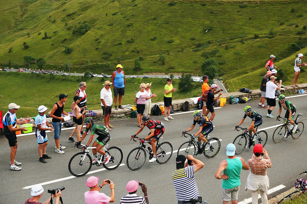 . The chasing group in action during the seventeenth stage of the 2014 Tour de France, a 125km stage between Saint-Gaudens and Saint-Lary-Soulan Pla d\'Adet, on July 23, 2014 in Saint-Lary Pla d\'Adet, France.  (Photo by Bryn Lennon/Getty Images)