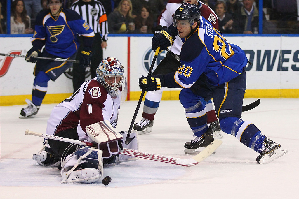 . ST. LOUIS, MO - APRIL 23: Semyon Varlamov #1 of the Colorado Avalanche makes a save against Alexander Steen #20 of the St. Louis Blues during the first period at the Scottrade Center on April 23, 2013 in St. Louis, Missouri.  (Photo by Dilip Vishwanat/Getty Images)