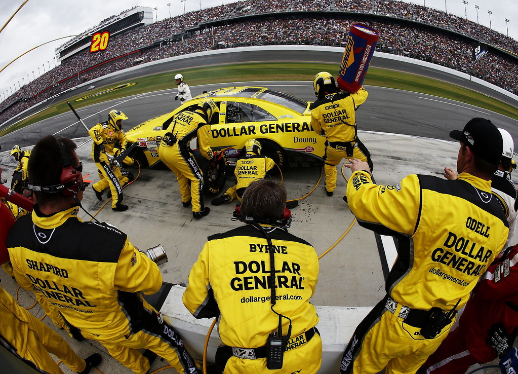 . Matt Kenseth, driver of the #20 Dollar General Toyota, pits during the NASCAR Sprint Cup Series Daytona 500 at Daytona International Speedway on February 24, 2013 in Daytona Beach, Florida.  (Photo by Chris Graythen/Getty Images)