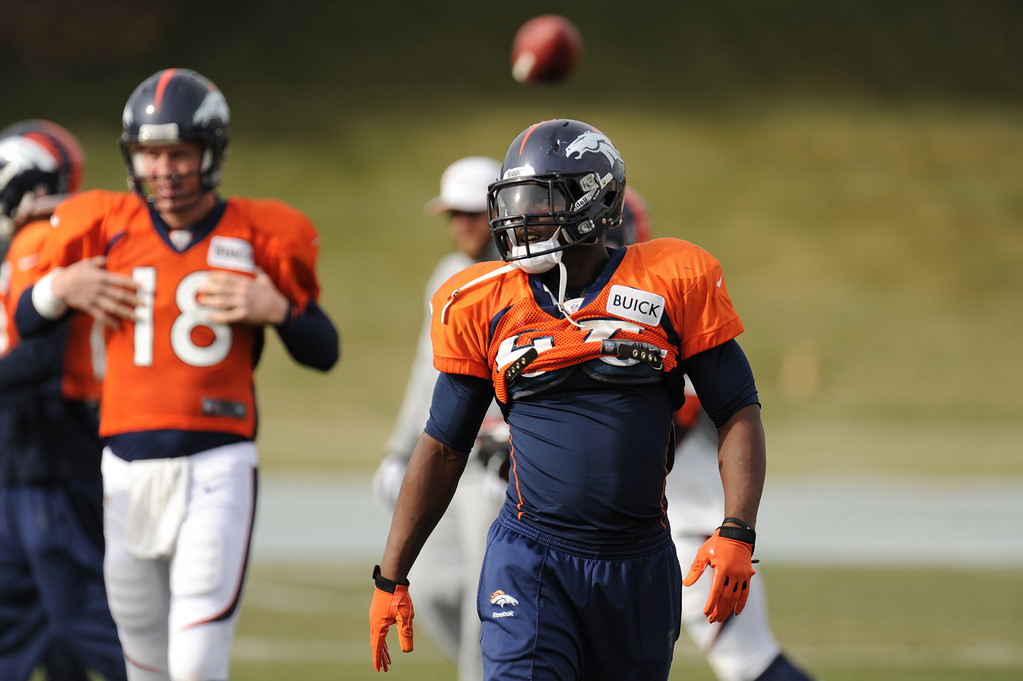 . Denver Broncos running back Knowshon Moreno #27 running through warmups during Broncos practice for their coming game against the Tampa Bay Buccaneers at Dove Valley in Denver Colorado Wednesday, November 28,  2012.    Joe Amon, The Denver Post