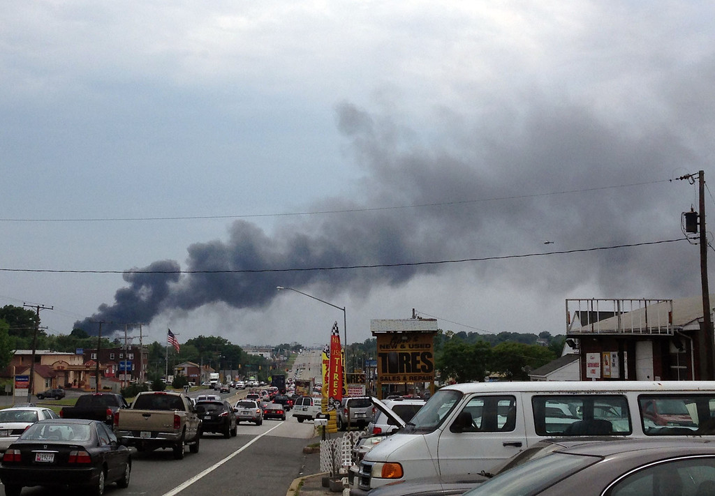 . This photo provided by Dale Walston, shows an explosion outside Baltimore on Tuesday, May, 28, 2013.  (AP Photo/Kevin Lindemann)
