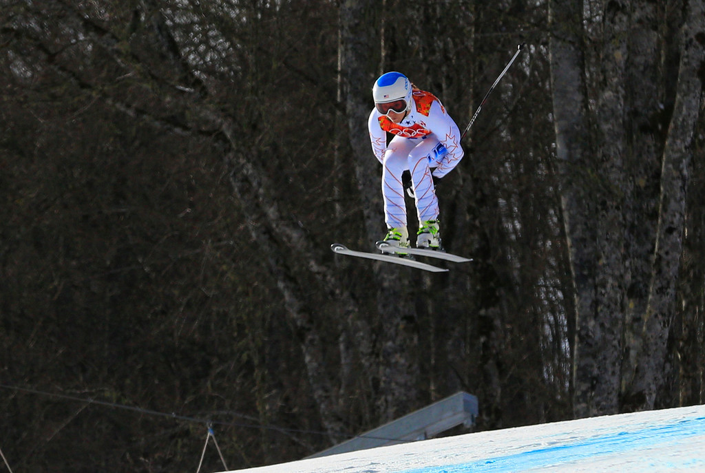 . US skier Julia Mancuso competes during the Women\'s Alpine Skiing Super Combined Downhill at the Rosa Khutor Alpine Center during the Sochi Winter Olympics on February 10, 2014.           AFP PHOTO / ALEXANDER KLEIN/AFP/Getty Images