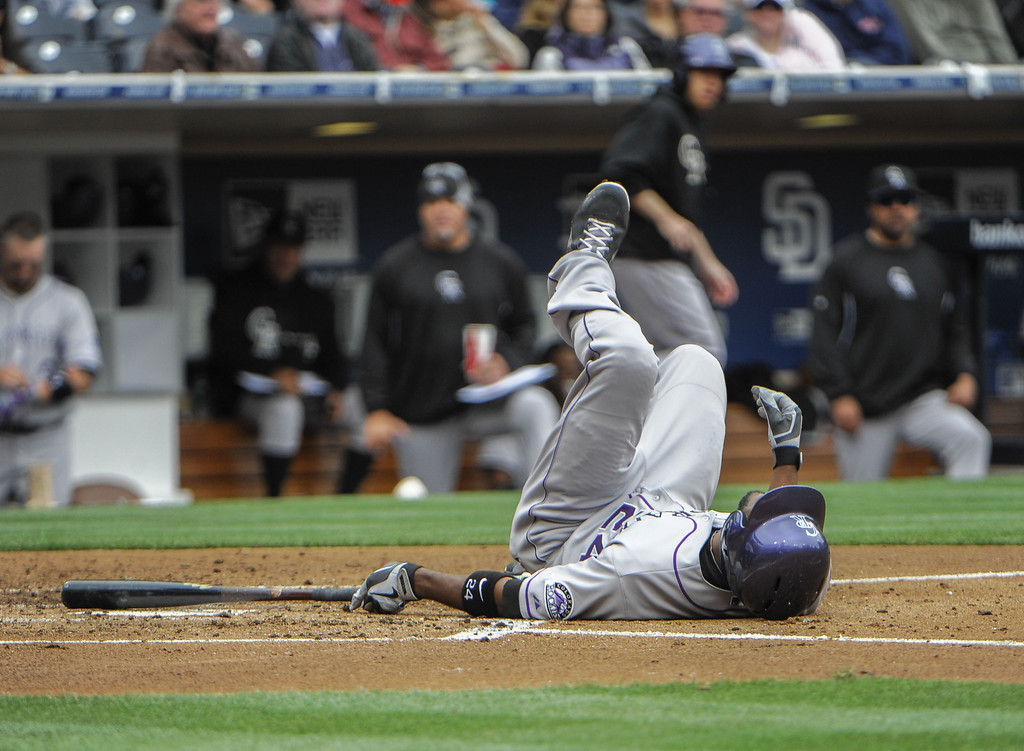 . Dexter Fowler #24 of the Colorado Rockies falls after being brushed back by a pitch during the third inning of a baseball game against the San Diego Padres at Petco Park on April 14, 2013 in San Diego, California.  (Photo by Denis Poroy/Getty Images)
