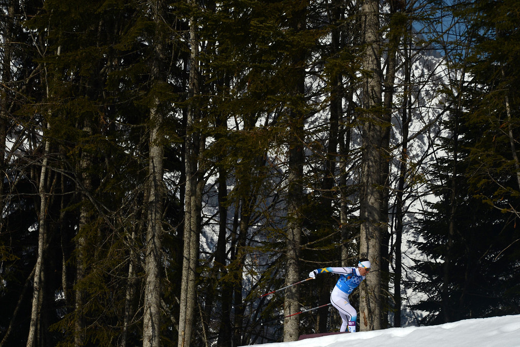 . Sweden\'s Charlotte Kalla competes to Gold in the Women\'s Cross-Country Skiing 4x5km Relay at the Laura Cross-Country Ski and Biathlon Center during the Sochi Winter Olympics on February 15, 2014, in Rosa Khutor, near Sochi.  KIRILL KUDRYAVTSEV/AFP/Getty Images
