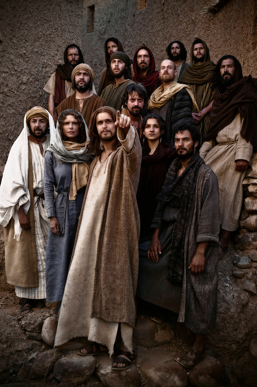 """. \""""The Bible\"""" - Jesus (Diogo Morgado) and all his disciples. © Lightworkers Media / Hearst Productions Inc."""
