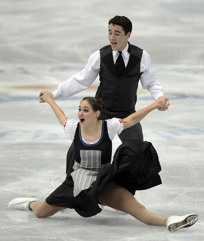 . Pilar Maekawa Moreno and Leonardo Maekawa Moreno of Mexico skate in the Ice Dance Short Dance during day one of the ISU Four Continents Figure Skating Championships at Osaka Municipal Central Gymnasium on February 8, 2013 in Osaka, Japan.  (Photo by Atsushi Tomura/Getty Images)