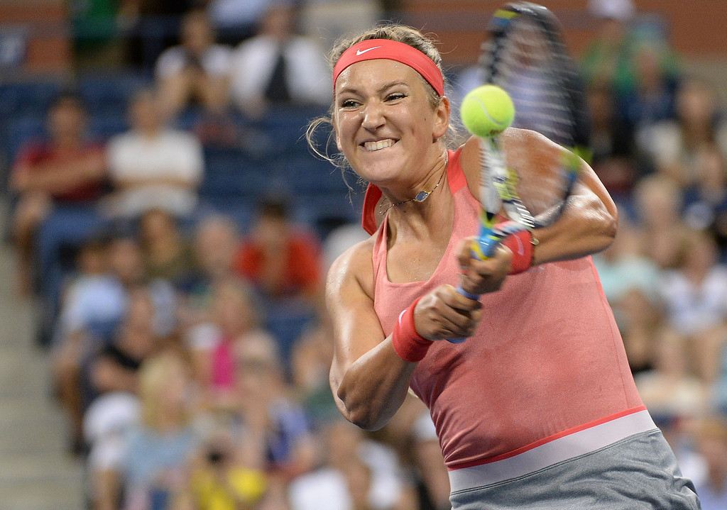 . Belarus tennis player Victoria Azarenka plays a point against Germany\'s Dinah Pfizenmaier during their 2013 US Open women\'s singles match at the USTA Billie Jean King National Tennis Center in New York on August 27, 2013. EMMANUEL DUNAND/AFP/Getty Images