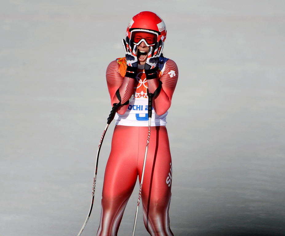 . Switzerland\'s Dominique Gisin reacts after finishing her run in the Ladies Downhill at the Rosa Khutor Alpine Center for the 2014 Winter Olympics in Krasnaya Polyana, Russia on Wednesday, Feb. 12, 2014.  She tied for gold with Slovakia\'s Tina Maze.  (Nhat V. Meyer/Bay Area News Group)
