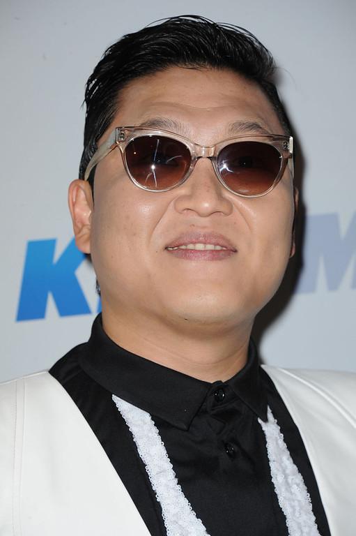 . Psy arrives at KIIS FM\'s Jingle Ball at Nokia Theatre LA Live on Monday, Dec. 3, 2012, in Los Angeles. (Photo by Katy Winn/Invision/AP)