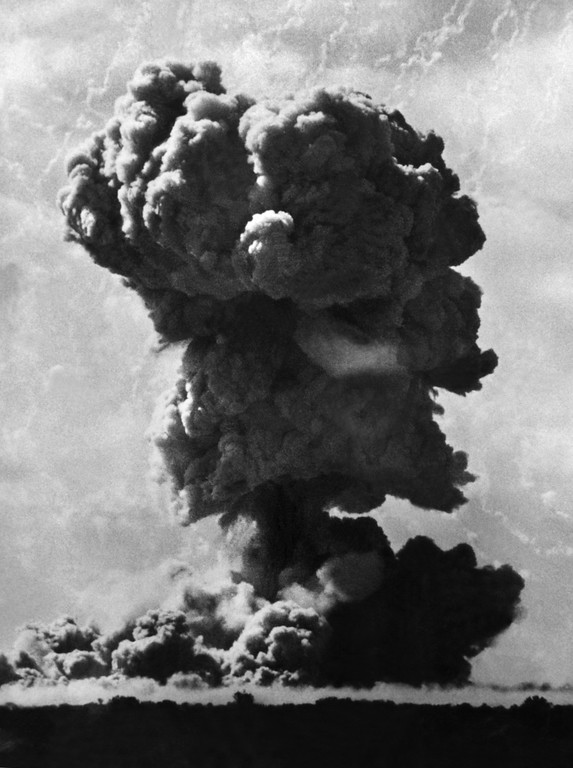 . In this Sept. 14, 1952 file photo, a dust cloud rises from a British nuclear bomb test in Maralinga, Australia. (AP Photo, file)