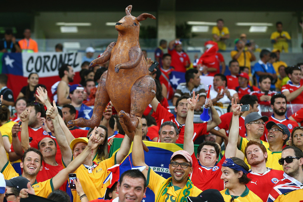 . Fans hold up an inflatable kangaroo prior to the 2014 FIFA World Cup Brazil Group B match between Chile and Australia at Arena Pantanal on June 13, 2014 in Cuiaba, Brazil.  (Photo by Cameron Spencer/Getty Images)