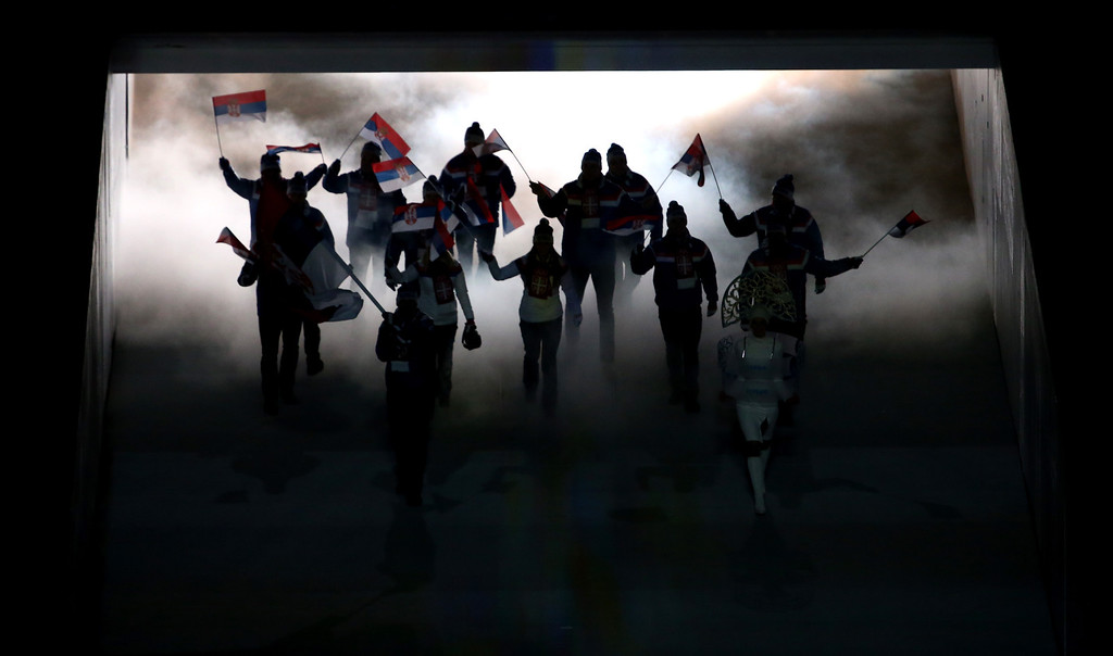 . The Serbia Olympic team enters the stadium during the Opening Ceremony of the Sochi 2014 Winter Olympics at Fisht Olympic Stadium on February 7, 2014 in Sochi, Russia.  (Photo by Quinn Rooney/Getty Images)