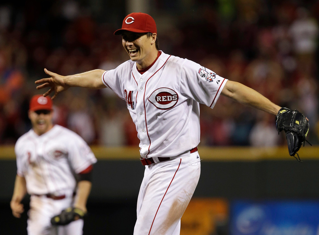 . Cincinnati Reds starting pitcher Homer Bailey celebrates after throwing a no-hitter against the San Francisco Giants in a baseball game, Tuesday, July 2, 2013, in Cincinnati. (AP Photo/Al Behrman)