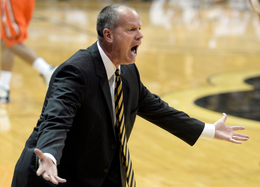 . Colorado head coach Tad Boyle argues a call with the referee during an NCAA game against Oregon State on Thursday, Jan. 2, at the Coors Event Center in Boulder.  Jeremy Papasso/ Camera