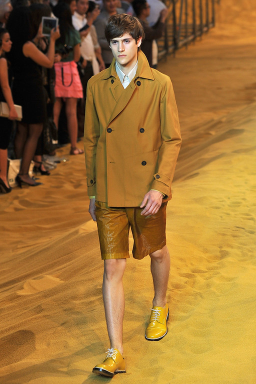 . A model walks the runway at the Fendi show during Milan Menswear Fashion Week Spring Summer 2014 show on June 24, 2013 in Milan, Italy.  (Photo by Stefania D\'Alessandro/Getty Images)