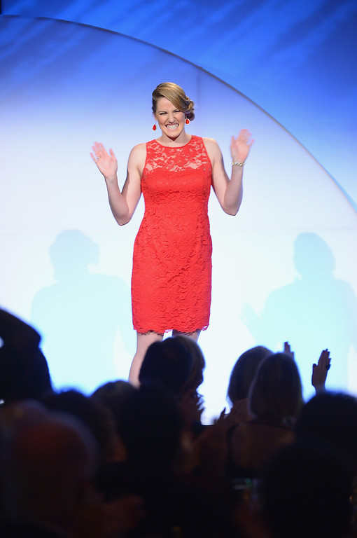 . NEW YORK, NY - OCTOBER 16:  Olympic gold medalist Missy Franklin speaks onstage at the 34th annual Salute to Women In Sports Awards at Cipriani, Wall Street on October 16, 2013 in New York City.  (Photo by Michael Loccisano/Getty Images for the Women\'s Sports Foundation)