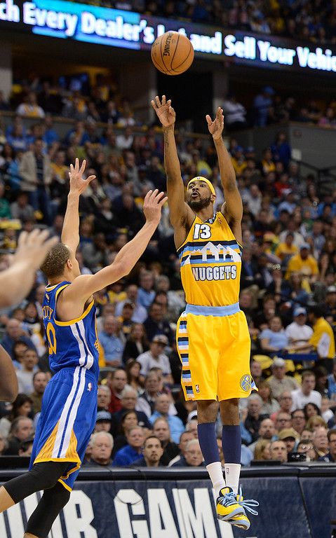 . DENVER, CO. - APRIL 20: Denver Nuggets small forward Corey Brewer (13) puts up a jump shot in the first quarter. The Denver Nuggets took on the Golden State Warriors in Game 1 of the Western Conference First Round Series at the Pepsi Center in Denver, Colo. on April 20, 2013. (Photo by John Leyba/The Denver Post)