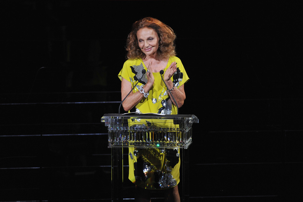 . Designer Diane von Furstenberg speaks onstage at the 2014 CFDA fashion awards at Alice Tully Hall, Lincoln Center on June 2, 2014 in New York City.  (Photo by D Dipasupil/Getty Images)