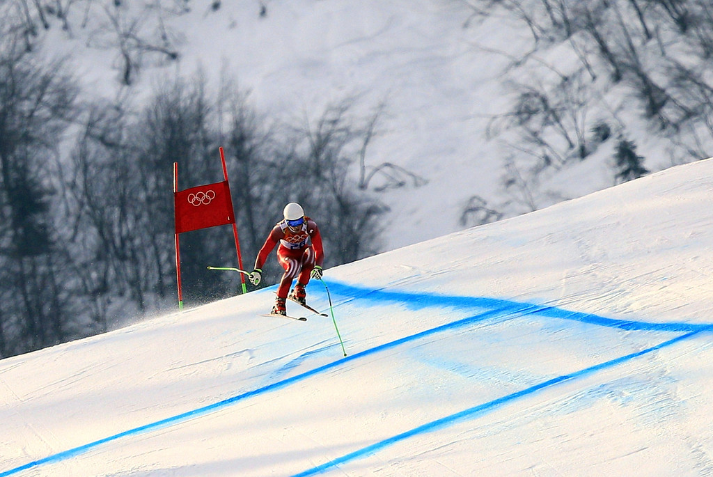 . Switzerland\'s Carlo Janka competes during the Men\'s Alpine Skiing Super-G at the Rosa Khutor Alpine Center during the Sochi Winter Olympics on February 16, 2014.   ALEXANDER KLEIN/AFP/Getty Images