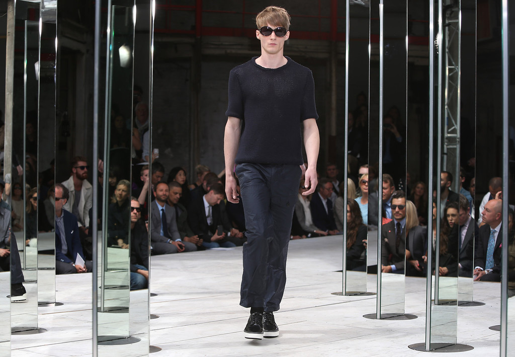 . A model wears a creation by designer Rag & Bone during London Men\'s spring summer fashion collections 2014, in London, Monday, June 17, 2013. (Photo by Joel Ryan/Invision/AP)