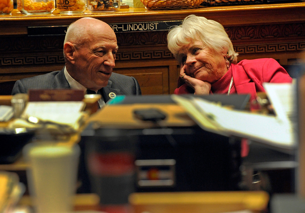 . DENVER, CO. - MARCH 8: Senator Rollie Heath, left, and Senator Lois Tochtrop listen to debate on House Bill 1228. Debate begins on the Senate floor at the state capitol on various gun bills before the state legislature. (Photo By Kathryn Scott Osler/The Denver Post)