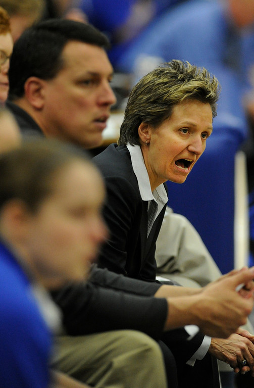 . PARKER, CO. - FEBRUARY 15: Highlands Ranch coach Caryn Jarocki shouted encouragement from the bench in the first half. The Legend High School girls\'s basketball team hosted Highlands Ranch Friday night, February 15, 2013. (Photo By Karl Gehring/The Denver Post)