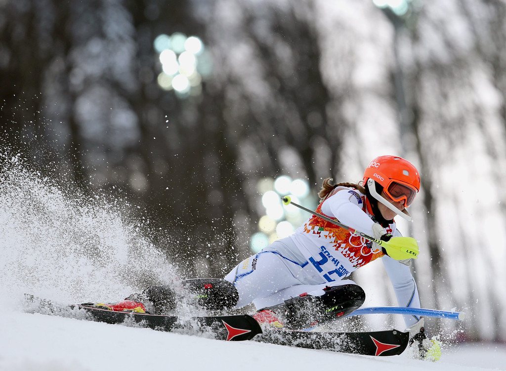 . Sara Hector of Sweden in action during the Slalom portion of the Women\'s Super Combined race at the Rosa Khutor Alpine Center during the Sochi 2014 Olympic Games, Krasnaya Polyana, Russia, 10 February 2014.  EPA/KARL-JOSEF HILDENBRAND