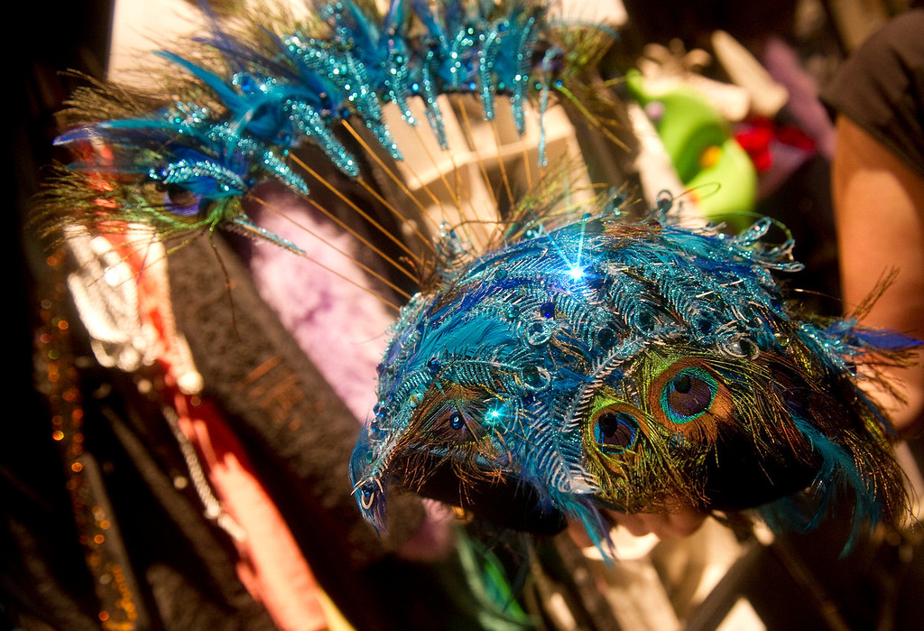 """. One of the sparkly head pieces  backstage at the Buell Theatre for the colorful production of \""""Priscilla Queen of the Desert The Musical\"""" on Thursday September 5, 2013. There are over 500 Tony Award winning costumes.   (Photo By Cyrus McCrimmon/The Denver Post )"""