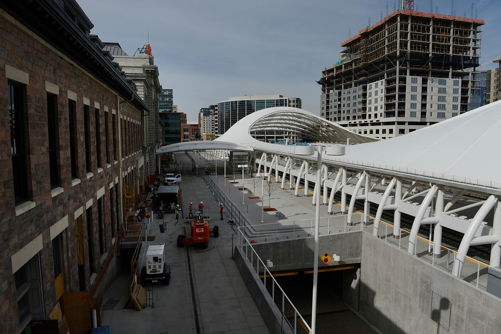 . DENVER, CO. - APRIL 25: Construction continues at the Union Station Transit Center which is scheduled to open bus service May 11, 2014. (Photo By Andy Cross / The Denver Post)