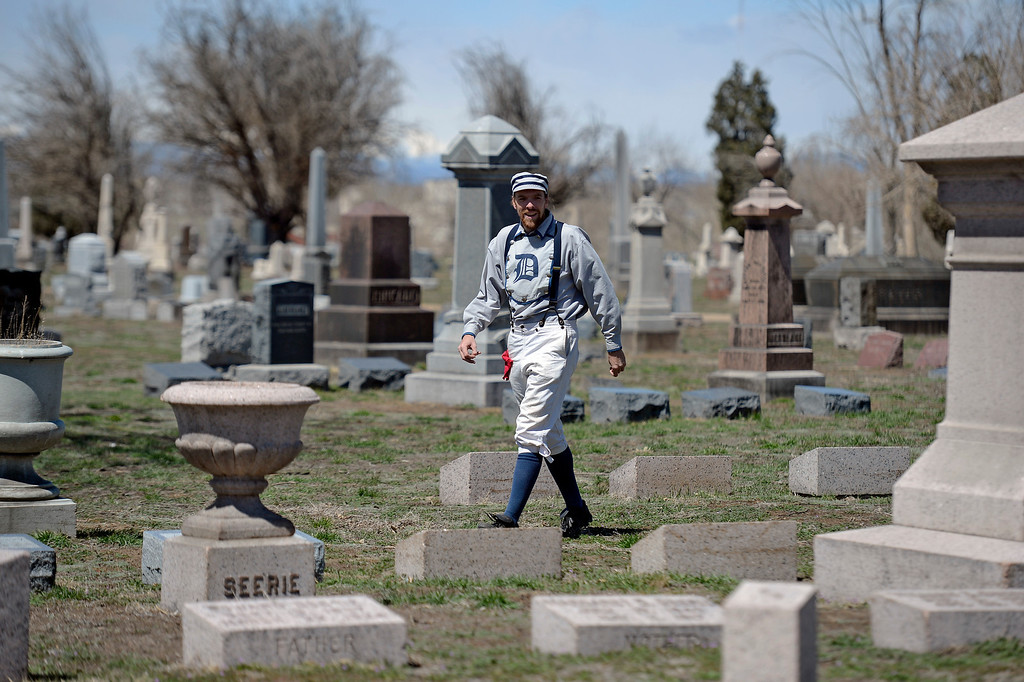 . DENVER, CO. - APRIL 14: Dathan Cannibal Tinney of the Denver Blue Stockings stalks the outfield during their vintage baseball game against the Central City Stars April 14, 2013 at  Riverside Cemetery in Denver. (Photo By John Leyba/The Denver Post)