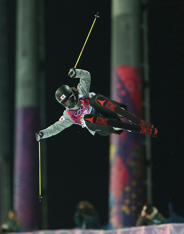 . Japan\'s Ayana Onozuka gets air during the women\'s ski halfpipe final at the Rosa Khutor Extreme Park, at the 2014 Winter Olympics, Thursday, Feb. 20, 2014, in Krasnaya Polyana, Russia. (AP Photo/Sergei Grits)
